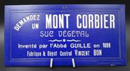 Plaque publicitaire ancienne bleue : liqueur Mont-Corbier, Savoie  - Photo