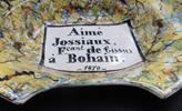 """Plat à barbe patronymique """"Aimé Jossiaux, fabricant de tissus"""" - Photo"""