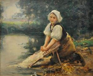 """""""Lavandière - Etude pour les laveuse"""" 1912 Jules Alexis Muenier (1863-1942). Huile sur toile"""